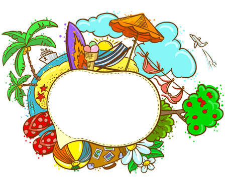 Summer hand-drawn color speech bubble Vector