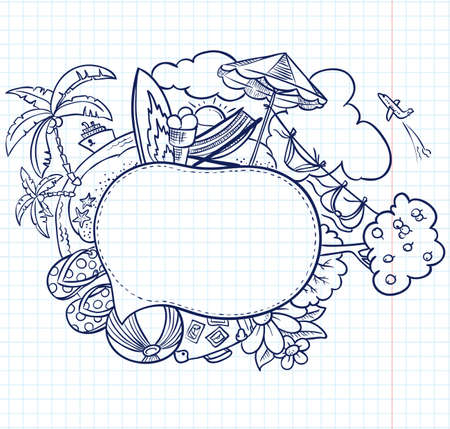 Summer hand-drawn sketch speech bubble Vector