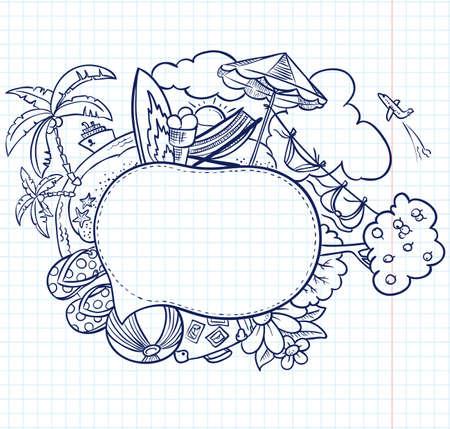 maletas de viaje: Verano dibujado a mano bocadillo boceto