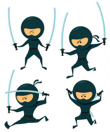 Cute Ninja Collection. Ninja With Katana Vector