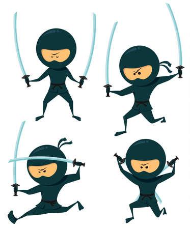 ninja: Nettes Ninja Collection. Ninja mit Katana Illustration