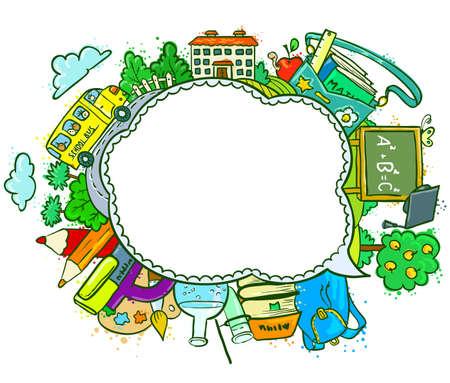 Cute school (education) speech bubble Vector
