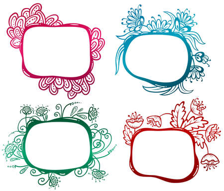 fancy border: Set with floral abstract frames
