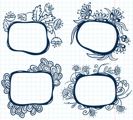 Set with floral abstract frames Vector