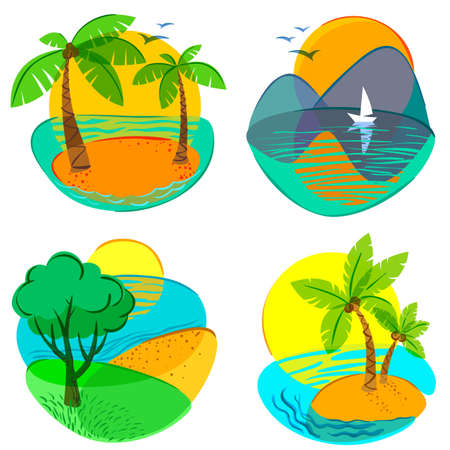 Set with cute summer icons Vector
