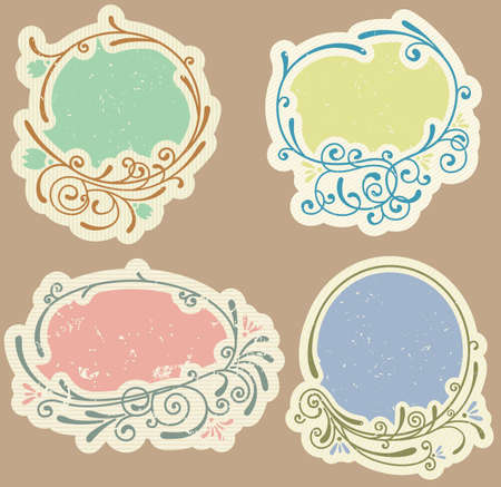 Set of vintage grunge labels Vector