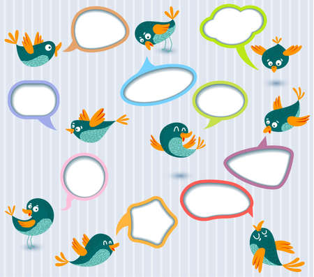 Cute Speech bubbles templates set with birds Stock Vector - 13776474