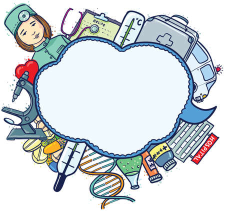 enfermera quirurgica: Medicina dibujado a mano bocadillo boceto