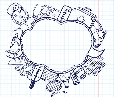 enfermera quirurgica: Medicina burbuja de boceto