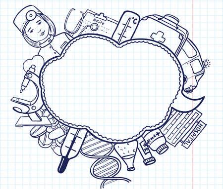 surgical nurse: Medicine sketch bubble Illustration