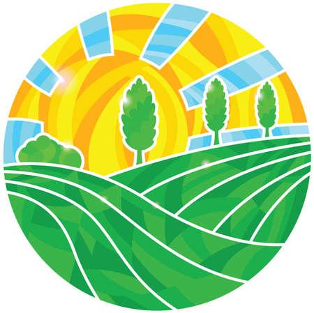 Rural landscape with sun Ilustracja