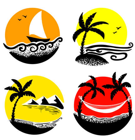 Minimalistic cute summer beach icons Vector
