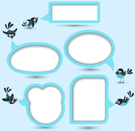 Cute Speech bubbles templates set with birds Vector
