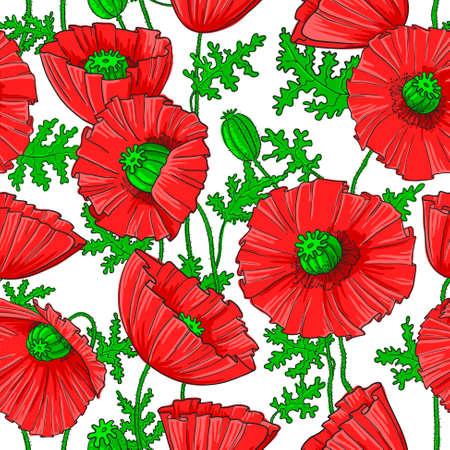Patrón sin fisuras con la flor de amapola