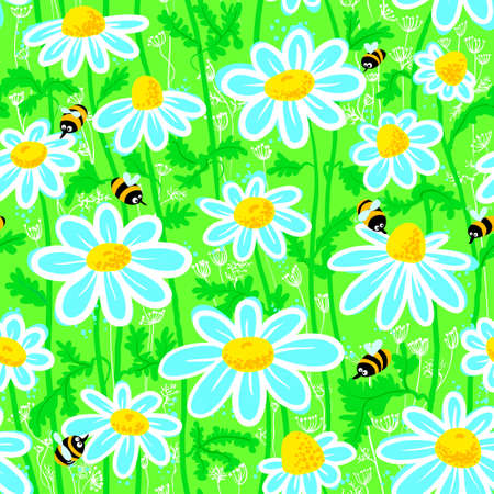 Seanless pattern with bees and chamomile Vector