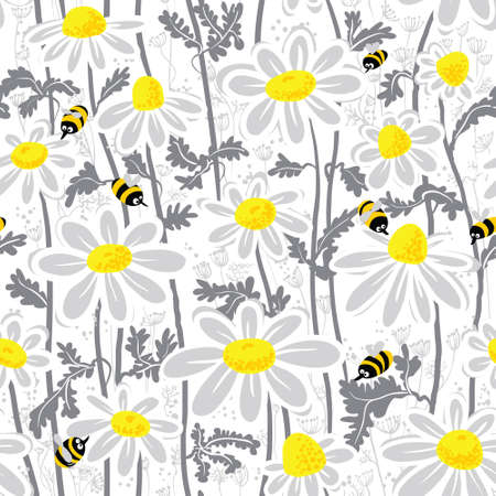 white daisy: Seamless pattern with bees and chamomile