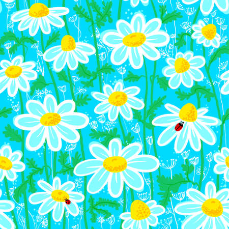 Seamless pattern with ladybirds and chamomile Vector