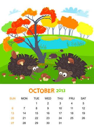 calendar 2013. October. Animals design Vector