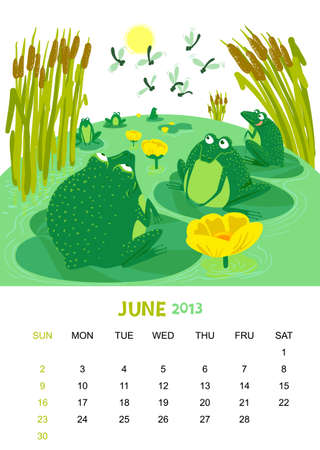 calendar 2013. June. Animals design Vector
