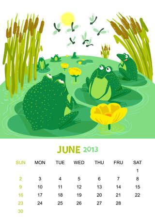 calendar 2013. June. Animals design Stock Vector - 15026704