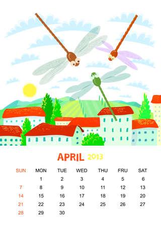 calendar 2013. April. Animals design Vector