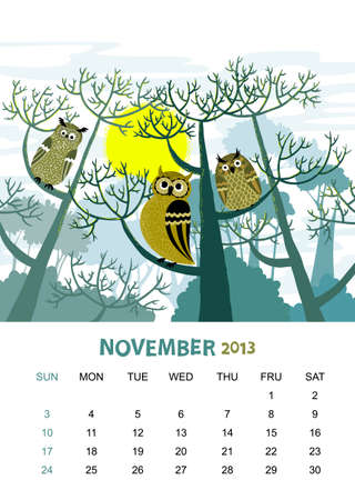 calendar 2013. November. Animals design Vector