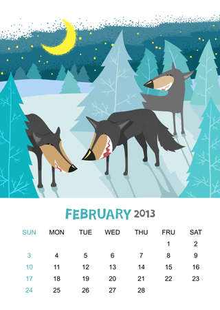 calendar 2013. February. Animals design Vector