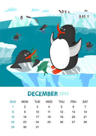 calendar 2013. December. Animals design Vector