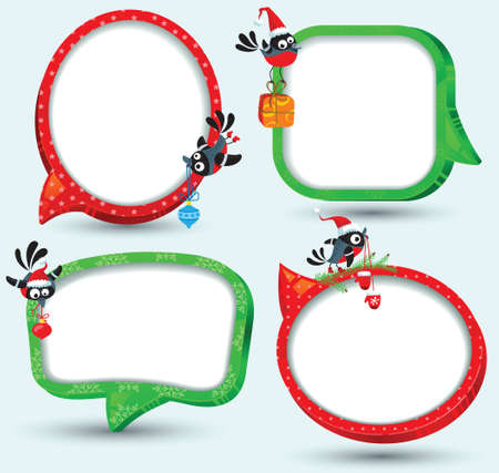 Speech bubbles on christmas theme Vector