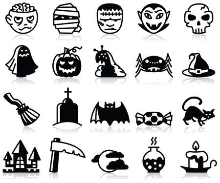 Minimalistic Halloween icons set Stock Vector - 15148975