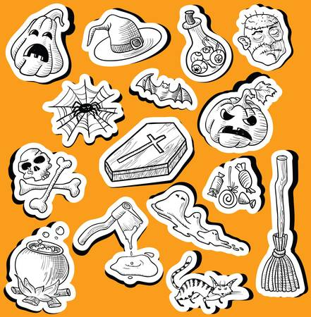 Set with halloween doodle stickers Vector