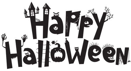 halloween cartoon: Halloween black silhouette lettering Illustration