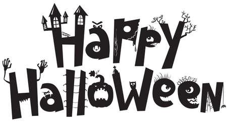 calabazas de halloween: Halloween negro silueta letras Vectores