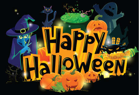 halloween cartoon: Cartoon Halloween greeting card Illustration