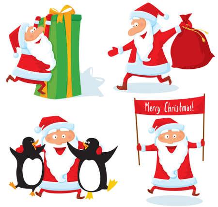 Cute Christmas Santa Claus  characters set Vector