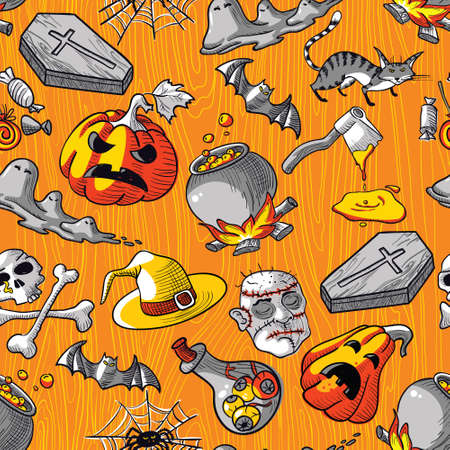 Seamless pattern with Halloween doodles Vector