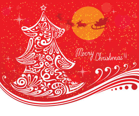Greeting card with Christmas tree Vector