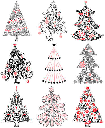Cute Cristmas Tree Silhouette Set Stock Vector - 15841758