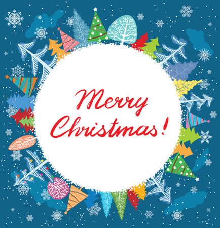 Cute Christmas round vector frame Stock Vector - 15841756