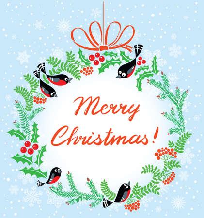 Cute Christmas wreath with birds Stock Vector - 15841753