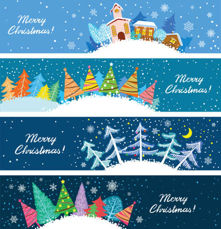 Cute Christmas banners set Illustration