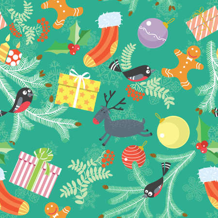 cute christmas: Cute Christmas seamless background