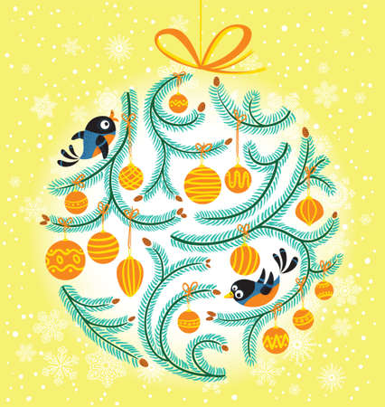 Cute Christmas ball dacoration with birds Stock Vector - 16146205