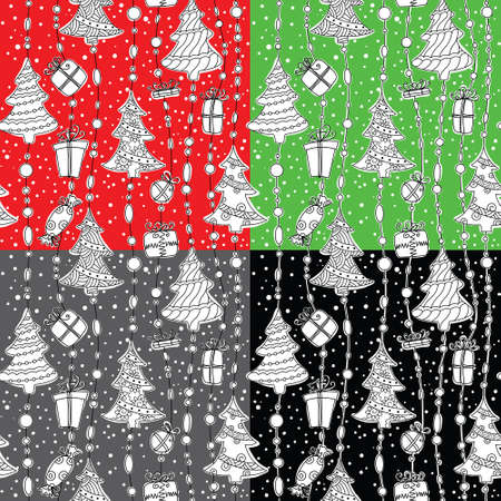 Cute Christmas seamless pattern set Stock Vector - 16136009