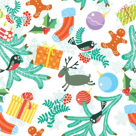 Cute Christmas seamless background Stock Vector - 16146231