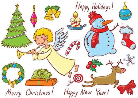 Cute Christmas doodles set. Colour version Stock Vector - 16146223