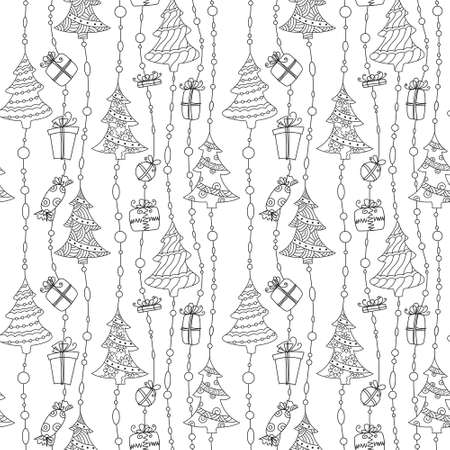 Cute Christmas black and white seamless pattern Vector