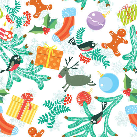 Cute Christmas seamless background Vector