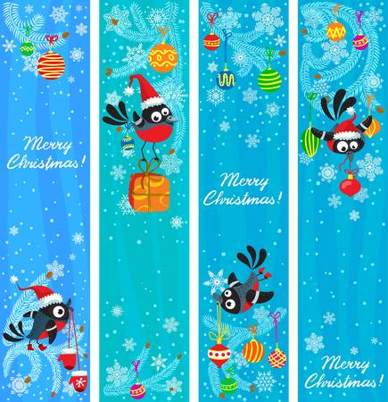 Cute Christmas banners set with birds Stock Vector - 16146264