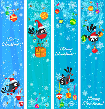 Cute Christmas banners set with birds Stock Vector - 16258800